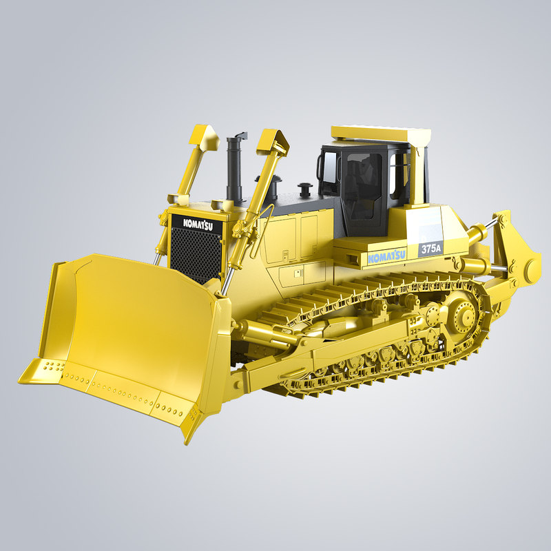 b Bulldozer Komatsu 375A  track loader digger heavy  bull dozer builder industrial transport vehicle machine tractor work road career pit opencast 0001.jpg