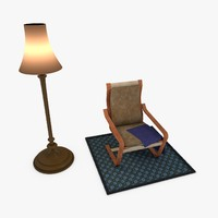 chair carpet cushion 3d model
