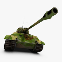 king tiger tank 3d obj