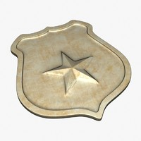 3d c4d golden sheriff badge