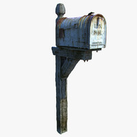 old wooden mailbox 3d model