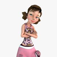 3d model girl animate