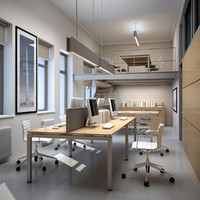 interior scene office 3d max
