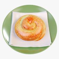 3d model croissant crust