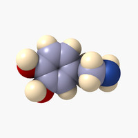 dopamine molecule neurotransmitters 3d model