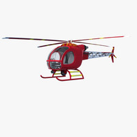 3d model helicopter red