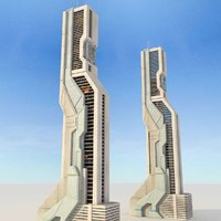 sci fi futuristic building 3d max