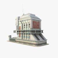 sci fi futuristic building 3d model