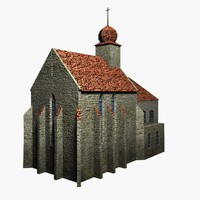 3d max low-poly medieval church