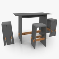 3d model straight-lined bar furniture set