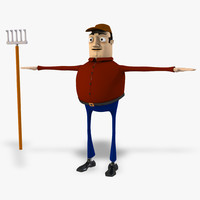 3d cartoon farmer