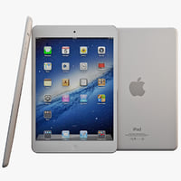 white ipad mini 3d model