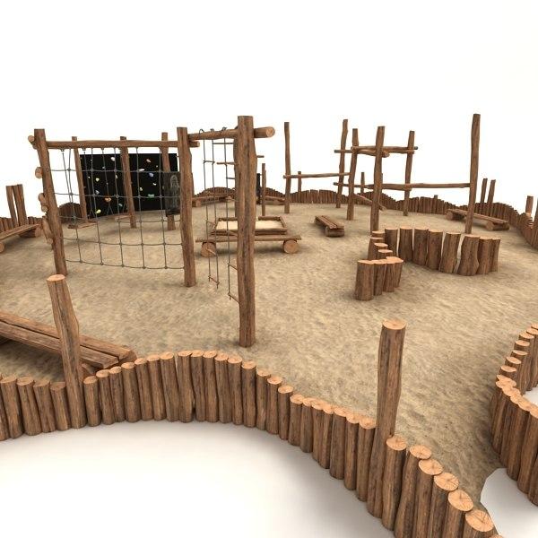 wooden playground 3d obj