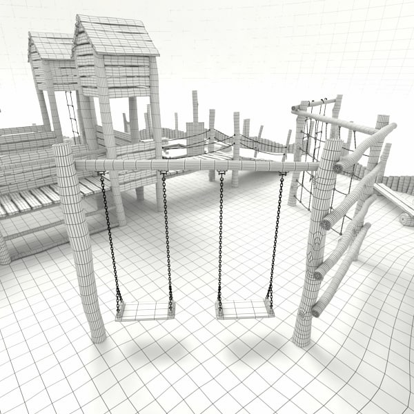 3d model wooden playground - Wooden Playground... by mellow box