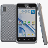 3d model black zte n880e cell phone