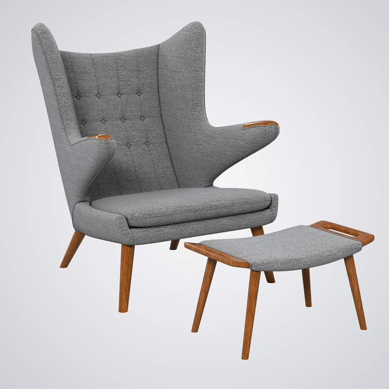 b Papa Bear Armchair  chair and ottoman Hans J Wegner designer designers famous lounge club relax vintage retro style modern contemporary tufted0001.jpg