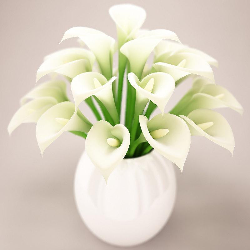 3d Model Beautiful White Flowers Bouquet