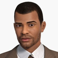 afro-american man character wayne 3d model