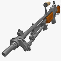 m1918a2 browning automatic rifle weapons 3d lwo
