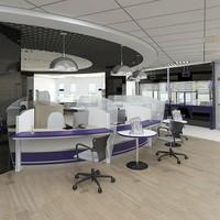 3d bank interior scene