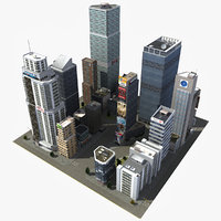 3d model of downtown skyscraper city block