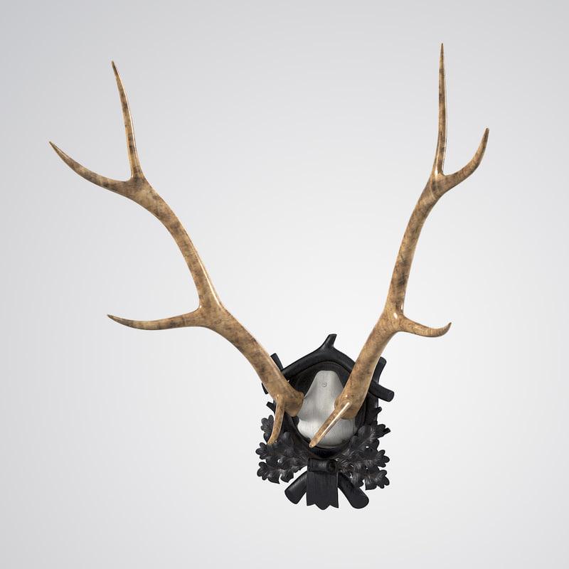 b Early Deer Antler Mount On Black Forest Carved Wood Plaque 0001.jpg