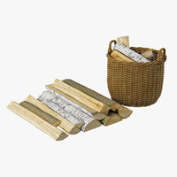 realistic firewood baskets wood 3d model
