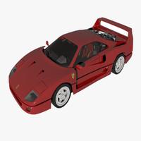 ferrari f40 sports car 3d max