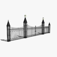 wrought iron fence gate 3d 3ds
