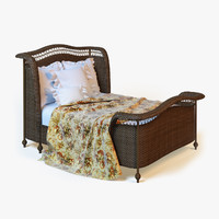 maya photorealistic rattan bed