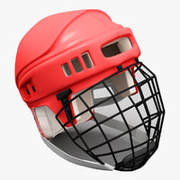 hockey helmet red 3d c4d
