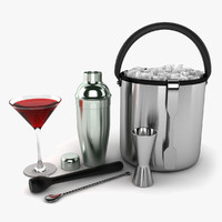 3d model cocktail set