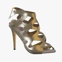 3ds max female golden shoes