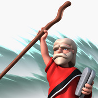 cartoon moses 3d obj