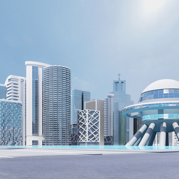 3d white city skyscrapers buildings model