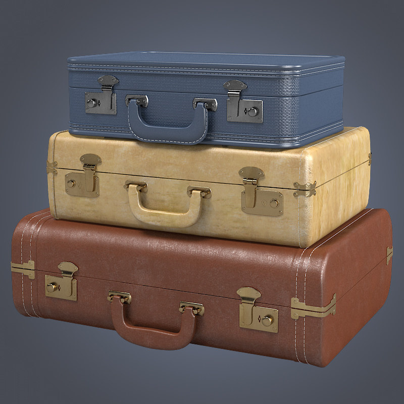 b Vintage Suitcase Set trunk bag antique traveller retro travel man coat storage traditional.jpg