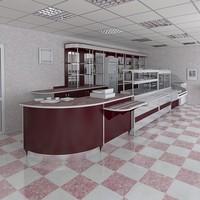 3d cafe scene model