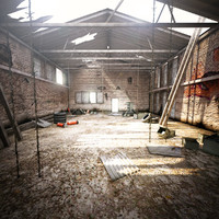 3d model ruined industrial warehouse