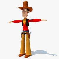 Rigged Cartoon Cowboy Character