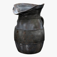 3d antique plated pitcher model