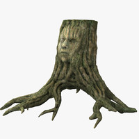 3d human face relief tree stump model