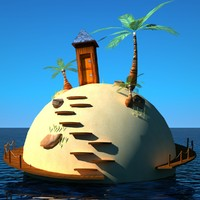 cartoon island 3d model