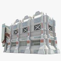 futuristic sci fi building obj