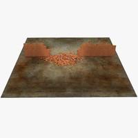 3d model brick explode 1 wall