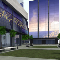 modern city buildings block 3d max