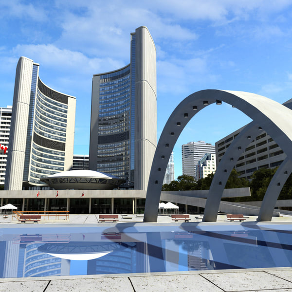 3d obj toronto city hall nathan - Toronto City Hall And Nathan Philips Square... by MS_RAY
