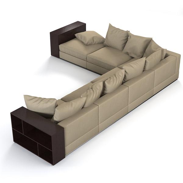 Flexform Groundpiece Sofa 3d Model