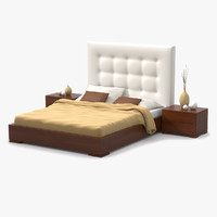 3d bed cherry wood model