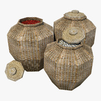 rattan baskets contains 3d max