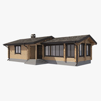 3d model of log house